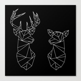 Geometric Stag and Doe (White on Black) Canvas Print