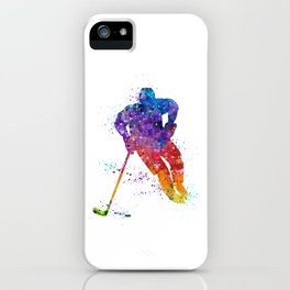 Boy Ice Hockey Colorful Watercolor Artwork iPhone Case