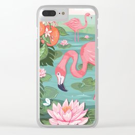 Flamingo and Waterlily Clear iPhone Case