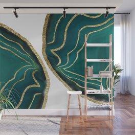 Green Blue Agate Gold Glam #1 #gem #decor #art #society6 Wall Mural