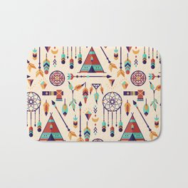 Aztec Tribal Seamless Pattern wiht Dreamcatcher and Arrows Bath Mat