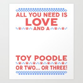 Toy Poodle Ugly Christmas Sweater Art Print