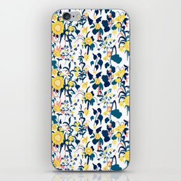 Buttercup yellow, salmon pink, and navy blue flowers on white background pattern iPhone Skin