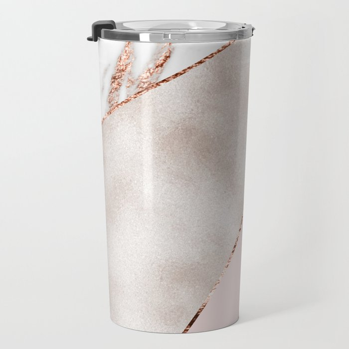 Spliced mixed rose gold marble Travel Mug