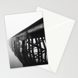 Train Bridge in the Fog-I B&W Stationery Cards