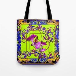 Decorative  Blue Purple Vining Flowers  Lime Green Patterns  Art Tote Bag