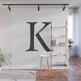 Letter K Initial Monogram Black and White Wall Mural