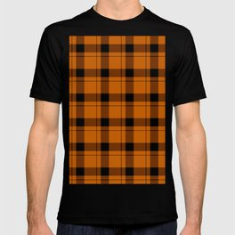 Orange and Black Gingham Traditional Plaid T-shirt