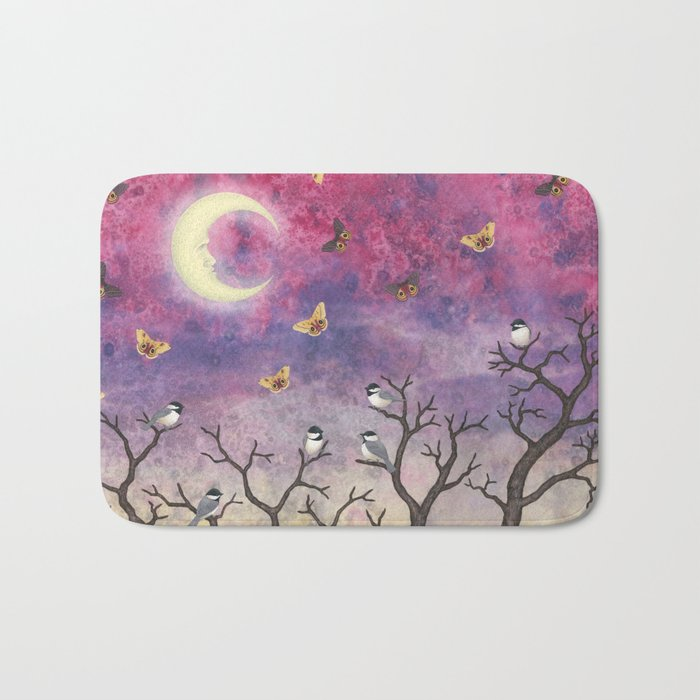 chickadees and io moths in the moonlit sky Bath Mat