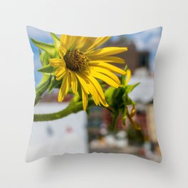 Yellow Flower in NYC Throw Pillow