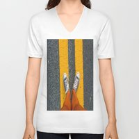 converse V-neck T-shirts featuring Converse Contrast by jyoshimitsuj