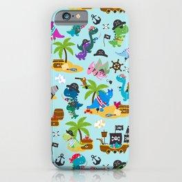 Dinosaur Pirates Blue Pattern iPhone Case
