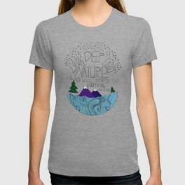 Look Deep into Nature - Ocean Mountain Illustration and Typography T-shirt