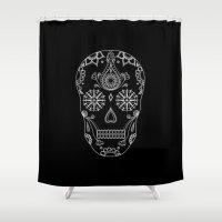 sugar skull Shower Curtains featuring Sugar Skull by Anna Lindner