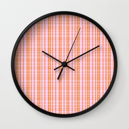 Orange and Pink Stripes - Plaid Wall Clock