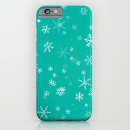 Turquoise and White Snowflake Winter Pattern iPhone Case