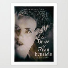 The Bride of Frankenstein, vintage movie poster, Boris Karloff cult horror Art Print