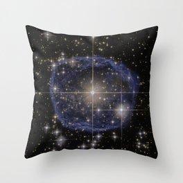 Blue Bubble Nebula Throw Pillow