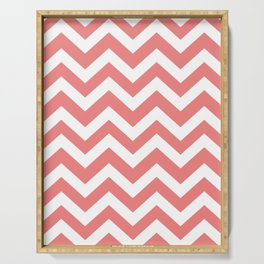 Light coral - pink color -  Zigzag Chevron Pattern Serving Tray