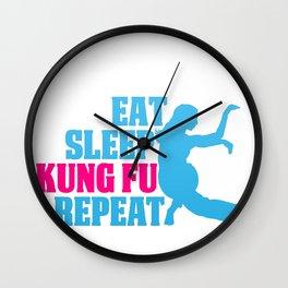 Eat Sleep Kung Fu Repeat Gift for Art Martials Lovers Wall Clock