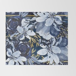 Navy Blue & Gold Watercolor Floral Throw Blanket