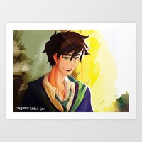 percy jackson Art Prints featuring Percy Jackson in Hogwarts by TreyCain03