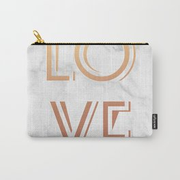 Art Deco Love Rose Gold Marble Tyrpography Print Carry-All Pouch