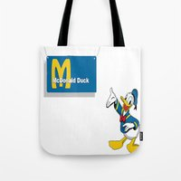donald duck Tote Bags featuring Mc Donald Duck by Dano77
