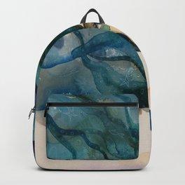 Watercolor Mermaid Blue Green Hair Backpack