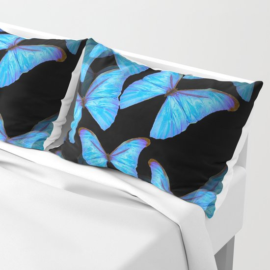 Turquoise Blue Tropical Butterflies Black Background #decor #society6 #buyart by pivivikstrm