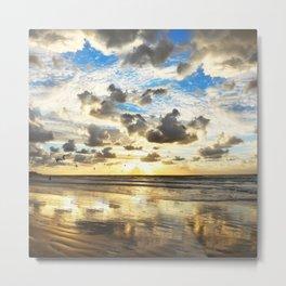 Golden Surf Sunrise Metal Print