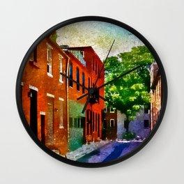 Fells Point Street, Historic Row Houses, Baltimore, Maryland  Wall Clock