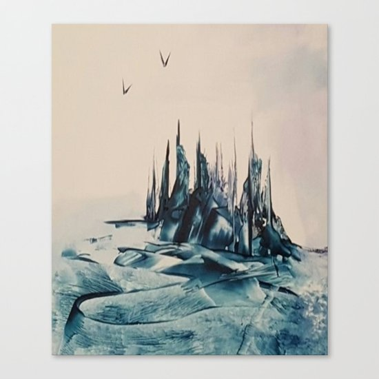Green Alienscape Canvas Print