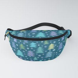 Winter Holidays Christmas Tree Green Forest Pattern Fanny Pack