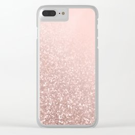 Rose Gold Sparkles on Pretty Blush Pink VI Clear iPhone Case
