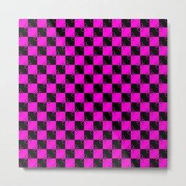 Hot Pink and Black Checker Dog Paws Metal Print