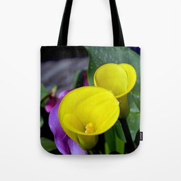 Two yellow callalilies Tote Bag