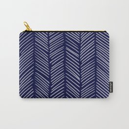 Indigo Herringbone Carry-All Pouch