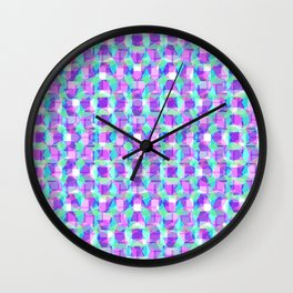 Purple, Blue & Green Pattern Wall Clock