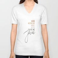 jesus V-neck T-shirts featuring Jesus by I Love Decor
