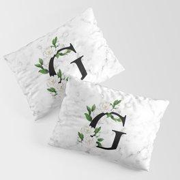 Letter 'G' Gardenia Flower Monogram Pillow Sham