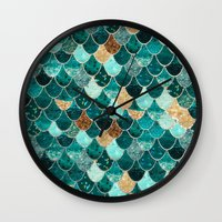 teal Wall Clocks featuring REALLY MERMAID by Monika Strigel