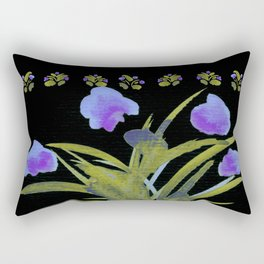 Atom Flowers #34 in purple and green Rectangular Pillow