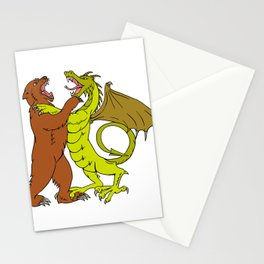 Chinese Dragon Fighting Grizzly Bear Drawing Color Stationery Cards