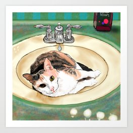 Catrina in the Sink Art Print