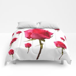 SCATTERED PINK ROSE BUDS FLOWERS Comforters