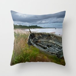 Shipwrecked Wooden Boat on Lakeshore with Sandy Beach and Dune Grass Throw Pillow
