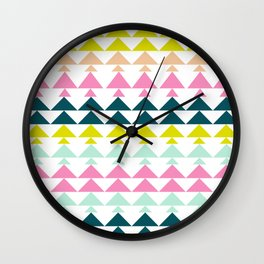 Triangle Pattern in Cheerful Bright Holiday Colors Wall Clock
