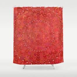 Red Floral Mandala Shower Curtain