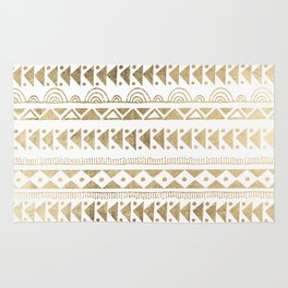 Boho Ethnic faux gold white aztec elegant geometrical Rug